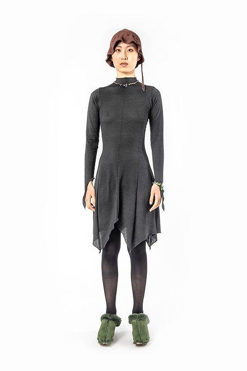 KA - HE - Web Merino Dress - Charcoal Stripe