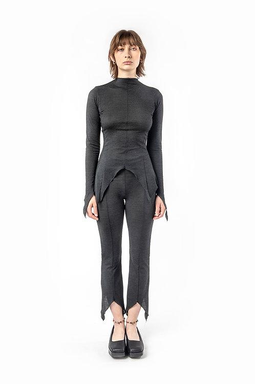 KA - HE - Web Merino Tights - Charcoal Stripe
