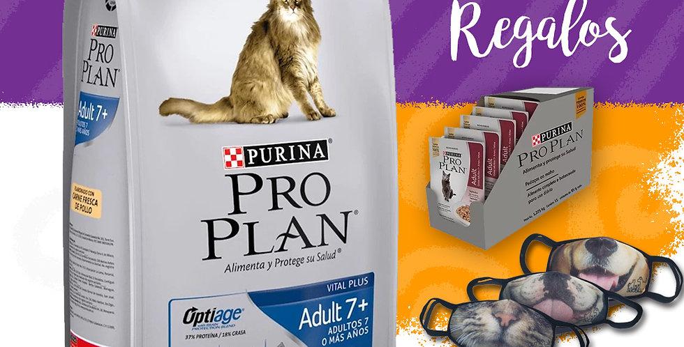Pro Plan Gato Adulto +7 años + 6 pouch + tapabocas
