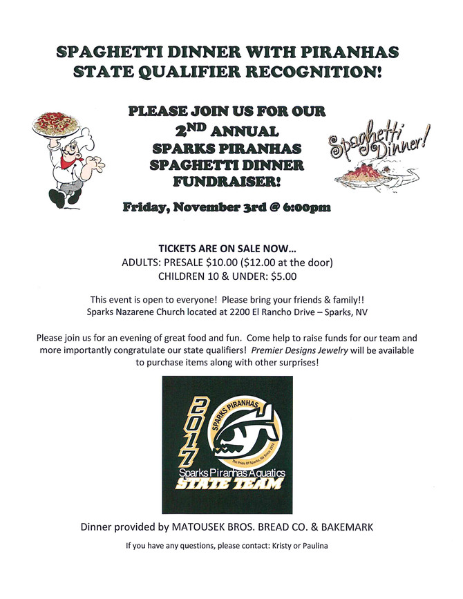 2nd Annual Spaghetti Dinner and State Qualification Recognition