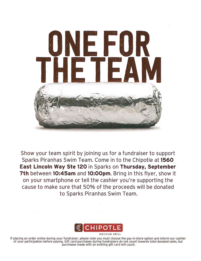 Buy Lunch or Dinner at Chipolte on 9/7 and Help our Booster Club!