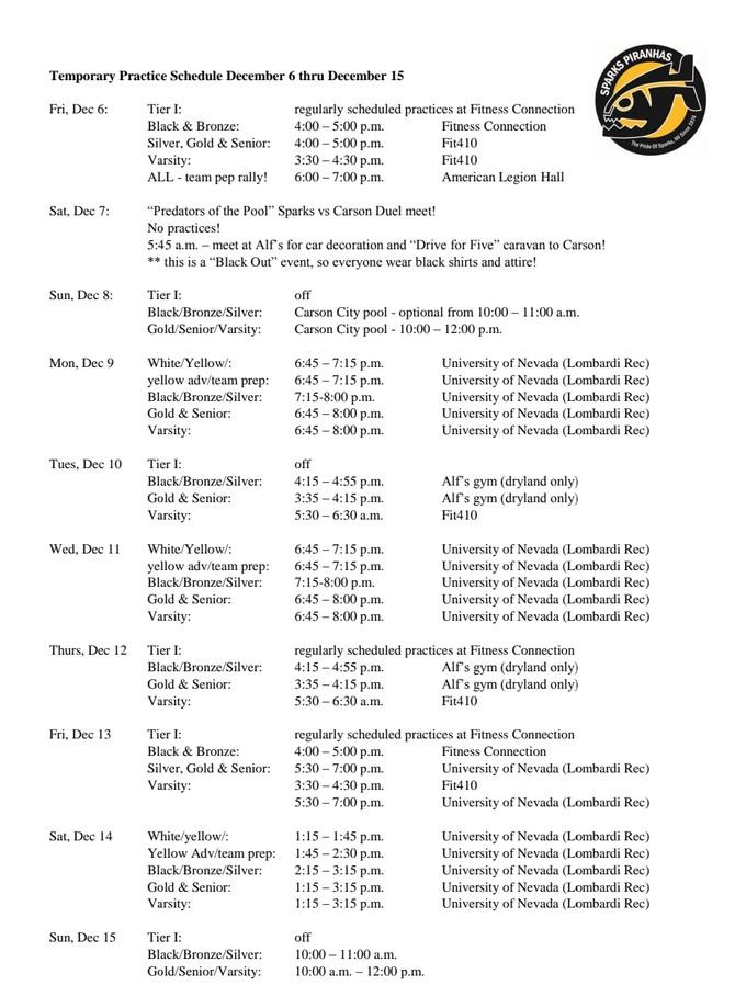 Temporary Schedule