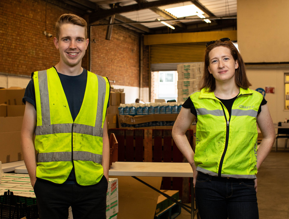 BEN COOK & SOPHIA TUFFIN (Stage Managers - Packing Food Parcels For Shielding People)