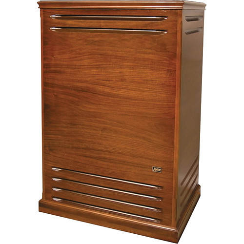"""The red walnut/walnut veneer version of the Hammond 981 Leslie Rotary Speaker is a more powerful Leslie cabinet featuring a two-speed horn rotor coupled to a heavy duty driver and a 15"""" woofer firing into a bass rotor. The cabinet uses a 300-watt RMS solid-state amplifier with a vacuum tube preamplifier for tone.  The unit has 11-pin and 8-pin Leslie sockets for providing connection and onboard control of your Hammond organ. The 1/4"""" audio and 1/4"""" footswitch jacks allow for connection to other instruments without the need for an external preamplifier.  The newly designed dual-race horn bearing features a spindle base that is constructed from one piece for improved mounting straightness and rigidity. It also uses double-row bearings with deeper raceway grooves to provide a greater degree of contact between the bearings and the raceway. This design improves the radial/axial loads and balance of the instrument for lower noise levels and smoother operation.  For controls, the speaker cabinet includes knobs for master volume, bass, mid-range, treble, horn level, subwoofer level, and overdrive for tube distortion. It also includes screwdriver adjustment controls for the fall and rise times of the rotors."""