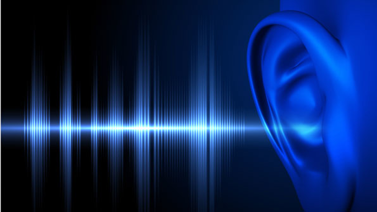 Sound waves leading up to an ear---everything in in blue with black background