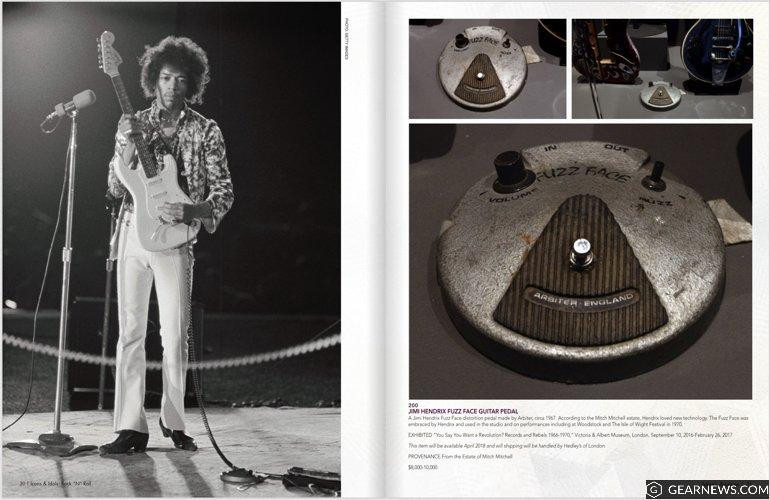 Julien's Auction House Catalogue Jimi Hendrix Arbiter 1967 Fuzz Face pedal
