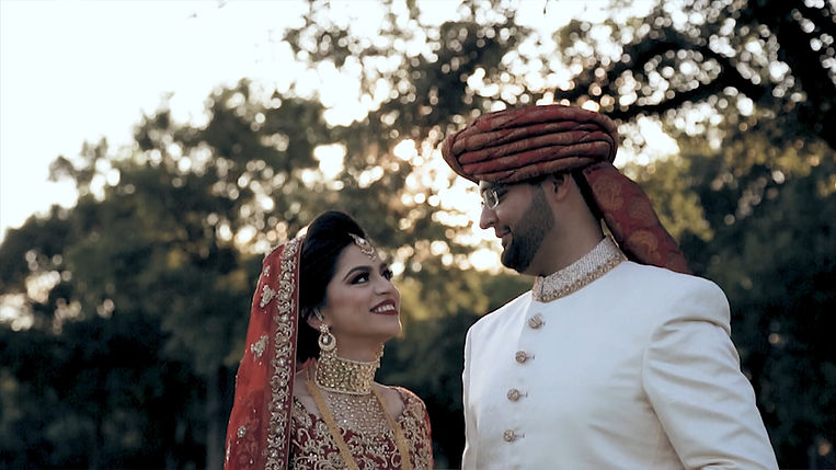 Annaa and Sanan posing during sunset for their Shaadi and Barat night at Elodrado Country Club in McKinney, Texas.