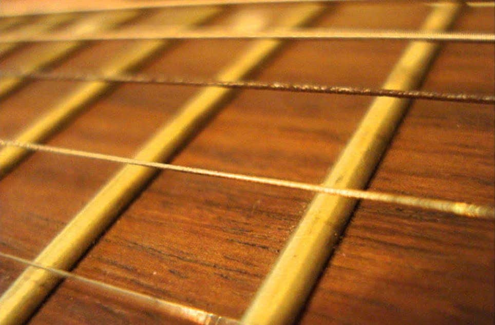 Close up of strings on a guitar