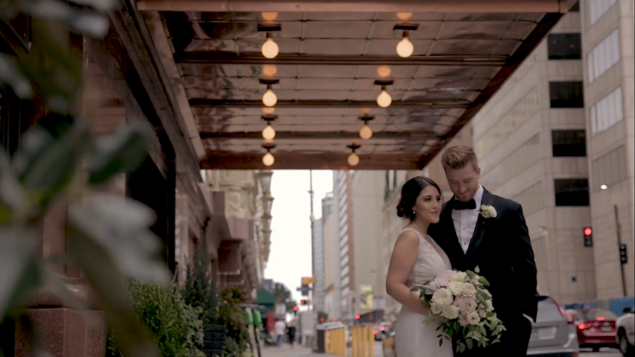 Wedding couple being filmed at Adolphus Hotel in Downtown Dallas, Texas.