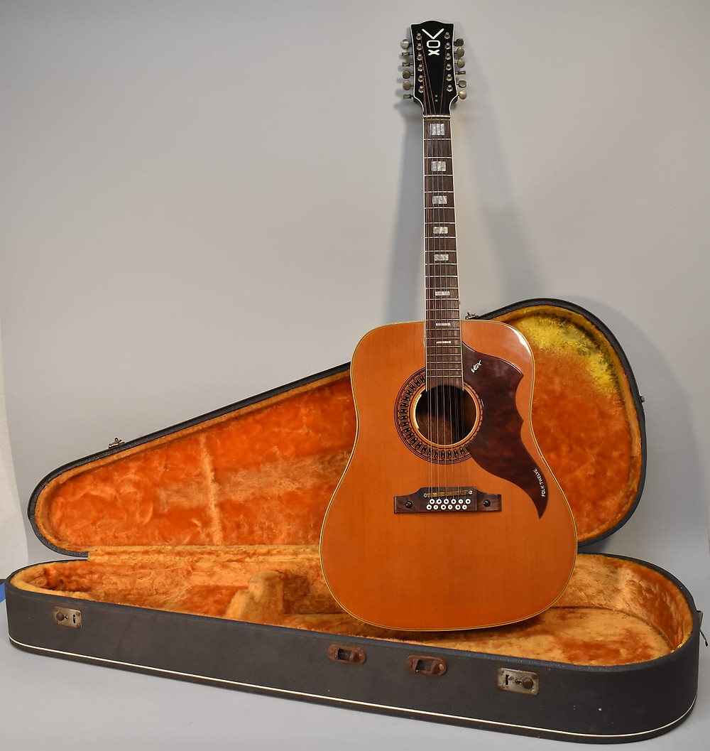1960s Vox Folk Twelve Dreadnought Vintage Acoustic Has A Professionally Installed LR Baggs Pickup In Good Overall Condition With Some Playwear And Light Scratches  Bridge Has A Slight Lift And The Top Has Settled Near The Bridge