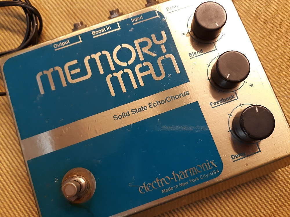 Blue and Silver Memory Man Vintage Pedal- Solid State Echo Chorus- electro-hamonix- Made in New York City/USA.