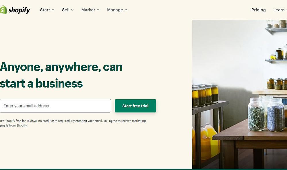 Shopify Homepage