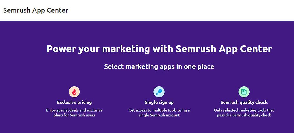 SEM Rush App Center Home screen