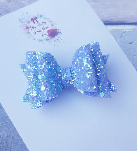 Lilac glitter double loop Dolly bow