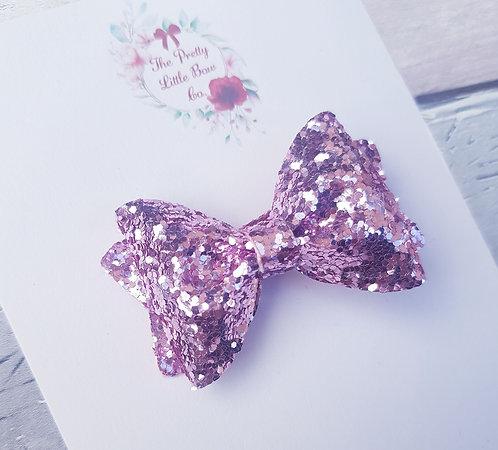 Rose pink glitter Pinch bow