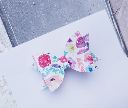 Floral pink Dolly bow