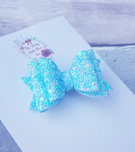 Blue glitter double loop Dolly bow