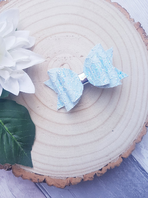 Pastel blue lace glitter Dolly bow