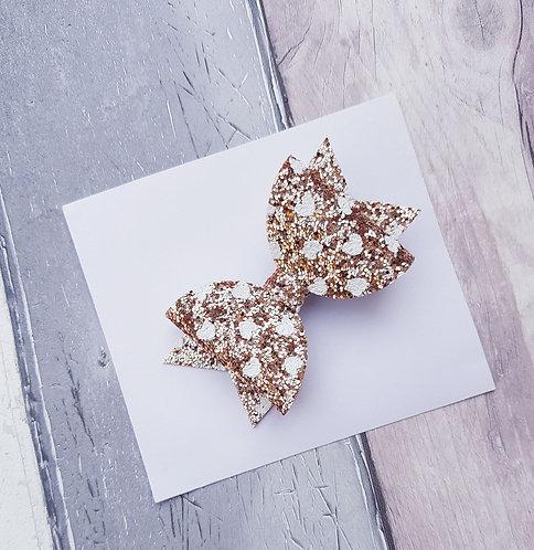 Gold heart Dolly bow