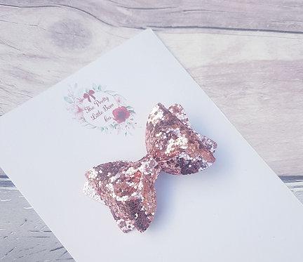 Rose gold glitter Pinch bow