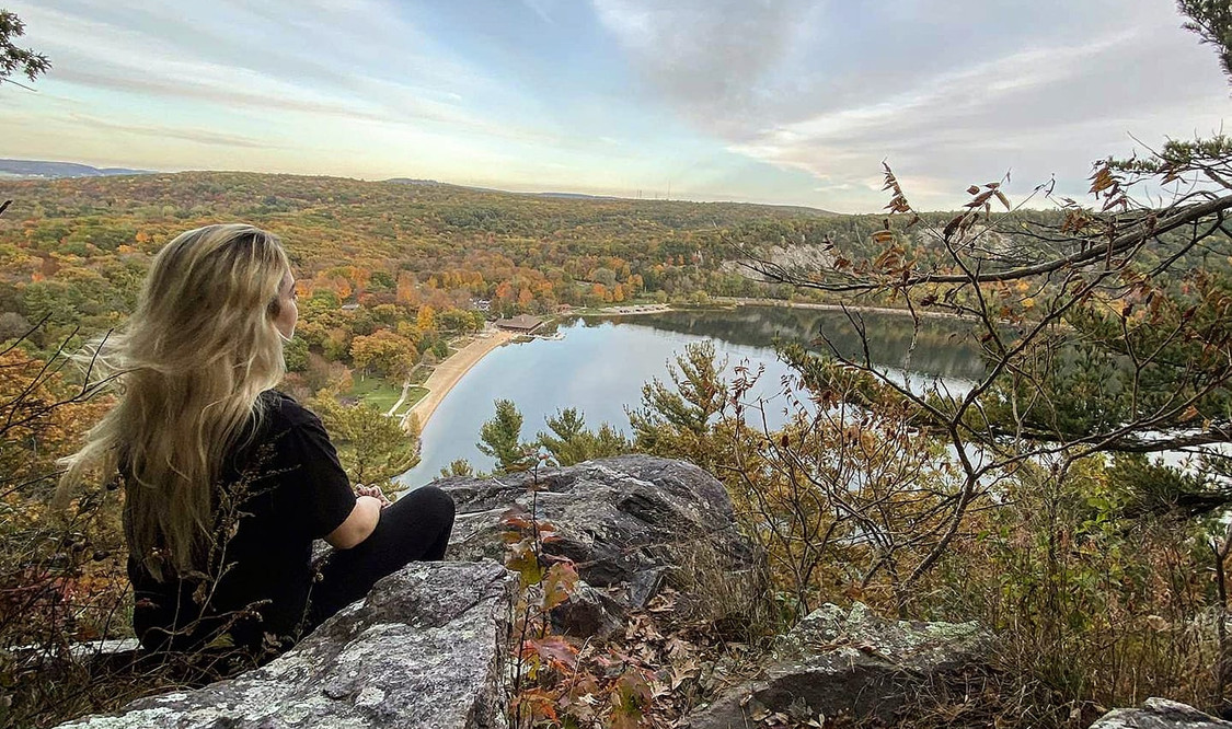 Krista at one of her favorite spots, Devil's Lake near her hometown Madison, WI.
