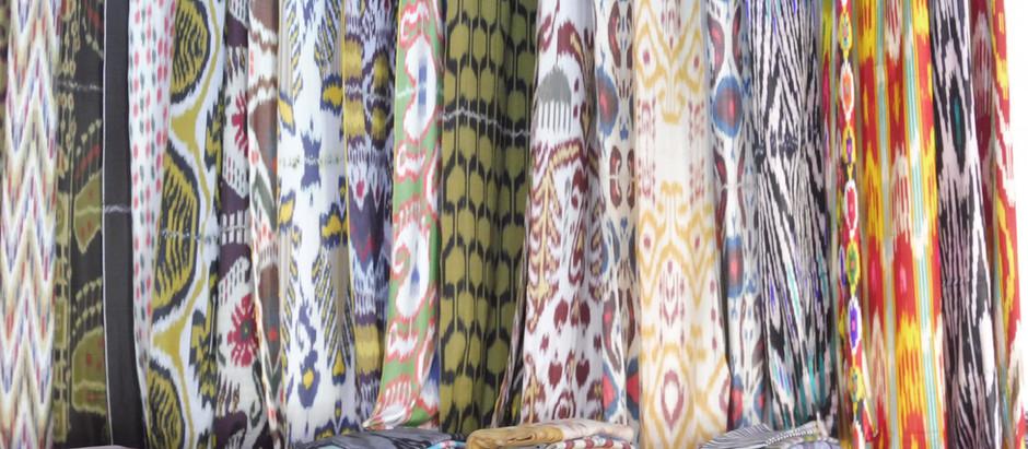 Ikat, het typische zijde design uit de Fergana Vallei  van Oezbekistan