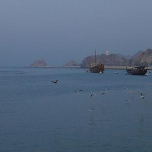 Twee dhows bij Muscat, Oman.JPG