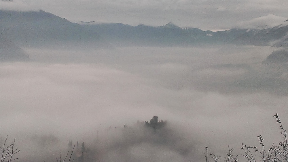 Gloomy Lake Como in Winter