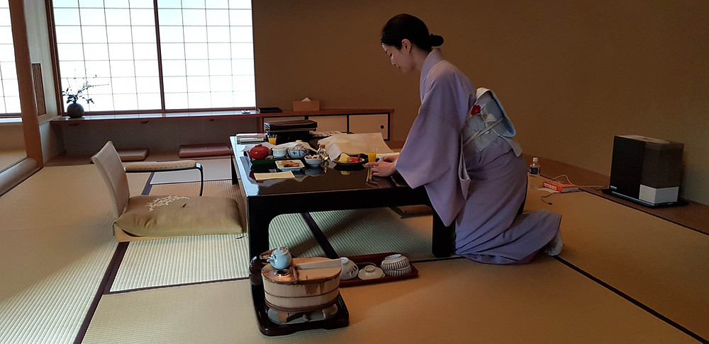 Breakfast in the room, Kyoto, Japan