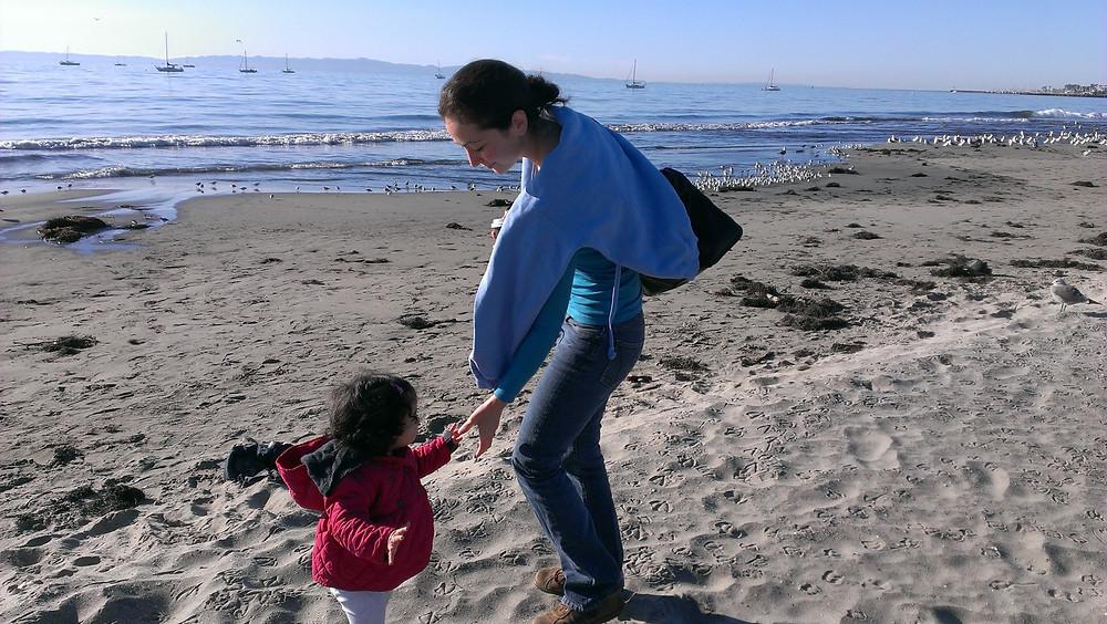 With my daughter on Santa Barbara Beach
