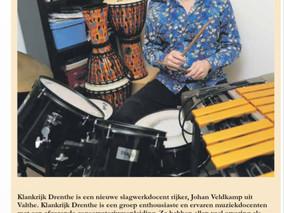 In de krant: onze nieuwe slagwerkdocent Johan Veldkamp!