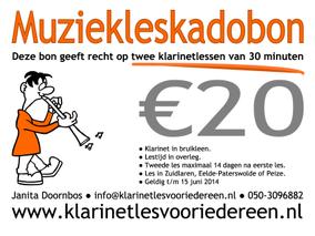 Klarinetles Kadobon 2 lessen € 20,-