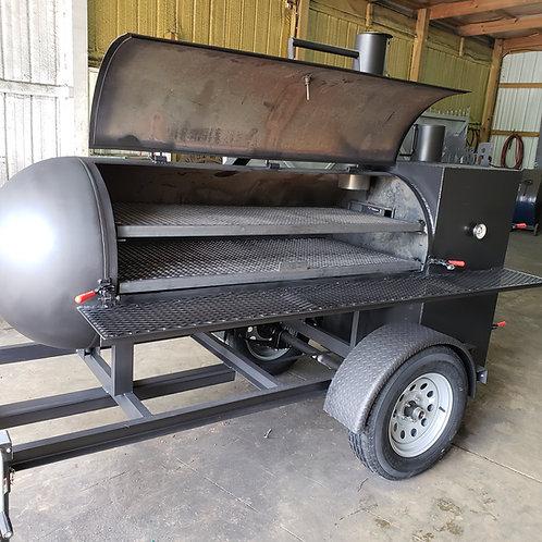 Single counterbalanced door 250gal reverse flow smoker w/warmer