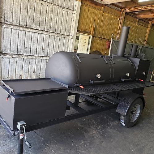 250gal reverse flow smoker w/griddle & warmer
