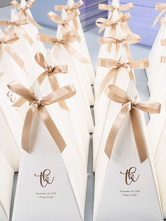 Die cut candle holders as wedding parting gifts