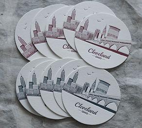Letterpress printed cleveland coasters