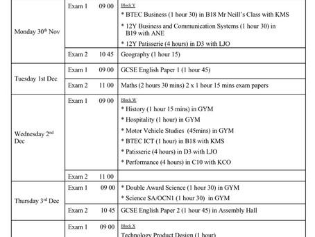 Exam Timetable yr12