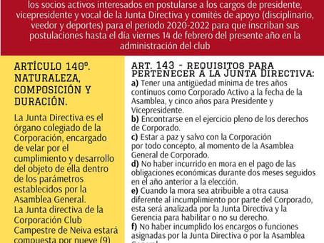 CONVOCATORIA CONFORMACIÓN JUNTA DIRECTIVA 2020 - 2022