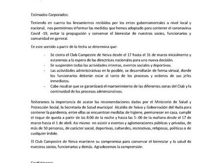 Comunicado: medidas por Covid -19
