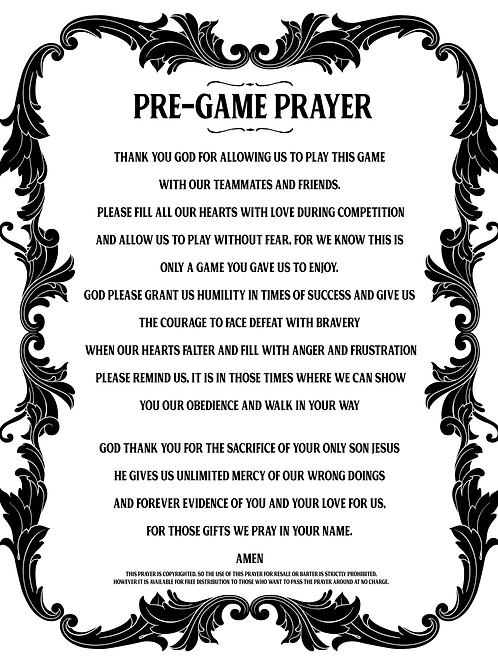 QTY: 5 PreGame Prayer Sheets