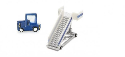 Passenger stairs w/ tractor, blue 1:200 HE551861