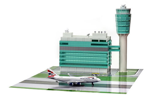HK Airport ATC Tower with plane in  1/400 ATC001