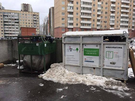 Контейнер для вторсырья и макулатуры расположен по адресу Дунайский проспект, 3к4 в Московском районе Санкт-Петербурга