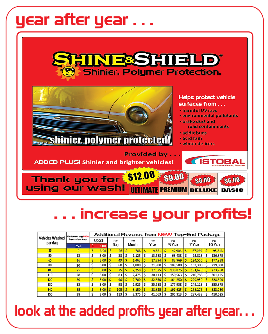 Shine & Shield polymer protection car wash detergents, boost revenue,