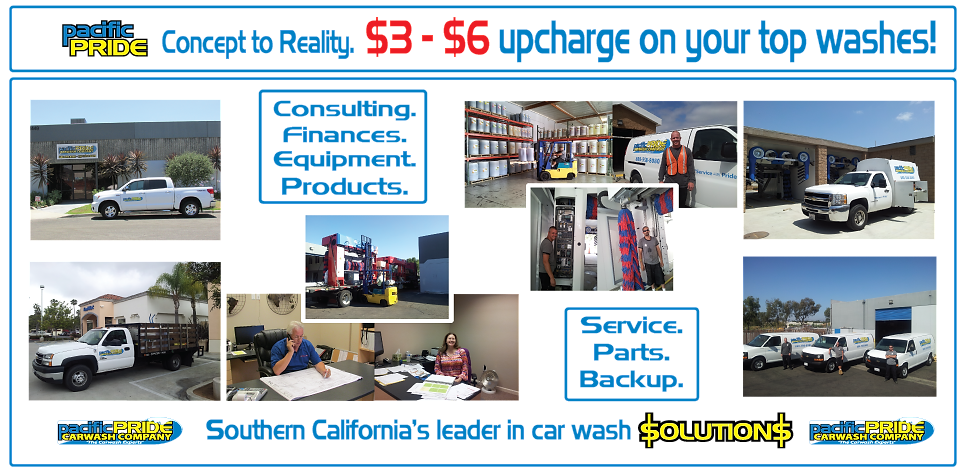 Concept to Reality, Upcharge on your top washes, Consulting, Finances, Equipment, Products, Service, Parts, Backup for carwashes, Southern California's leader in car was Solutions