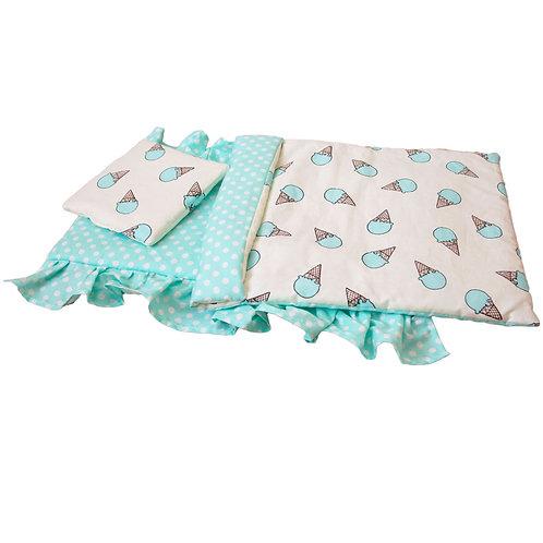 Постельное белье для кукольной кроватки Lilu бирюзовое
