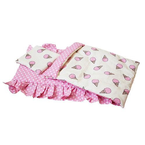 Постельное белье для кукольной кроватки Lilu розовое