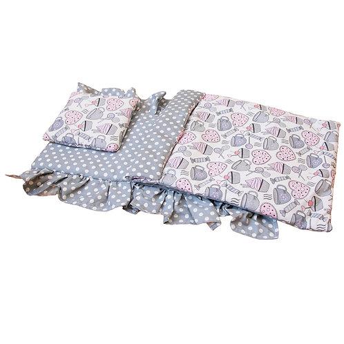 Постельное белье для кукольной кроватки Lilu серое