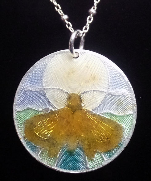 Brocaded and Enameled Pendant