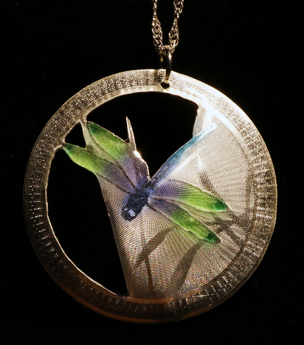 Brocade and Rose Engine Guilloche' Engraved Dragonfly Pendant